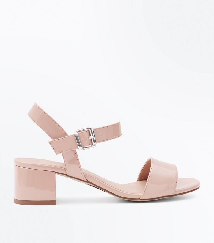 c8e1831cc4 Girls Nude Patent Block Heel Sandals | New Look