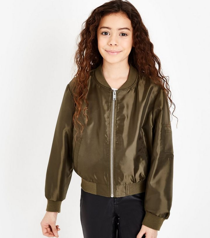 a91d913bd Teens Khaki Satin Bomber Jacket Add to Saved Items Remove from Saved Items