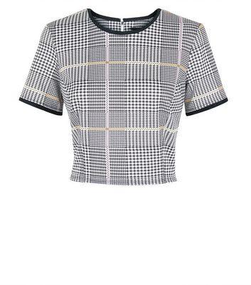 Grey Check Crop Top New Look
