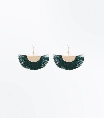 Green Tassel Fan Earrings New Look
