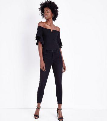 Black Notch Neck Frill Sleeve Bodysuit New Look