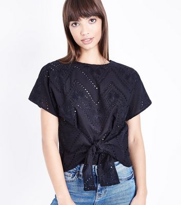 black-embroidered-cut-out-tie-front-t-shirt by new-look