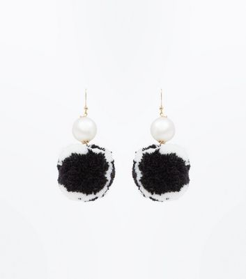 Black and White Pom Pom Pearl Earrings New Look