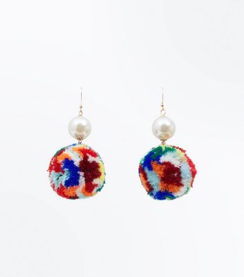 Multi Coloured Pom Pom and Pearl Earrings New Look