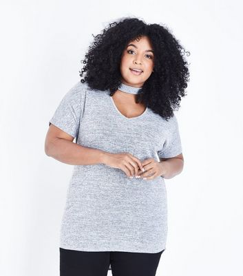 Curves Grey Fine Knit Choker Neck Tunic Top