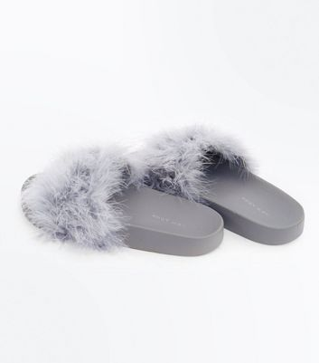 Grey Feather Strap Sliders New Look