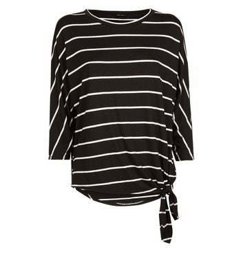 Black Stripe Tie Side Oversized Top New Look