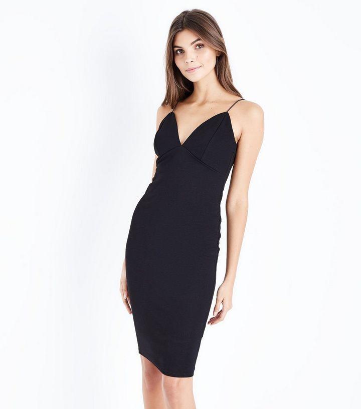 81e654a87b3d Black Crepe Strappy Bodycon Midi Dress | New Look