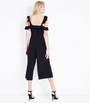 Black Frill Cold Shoulder Culotte Jumpsuit New Look