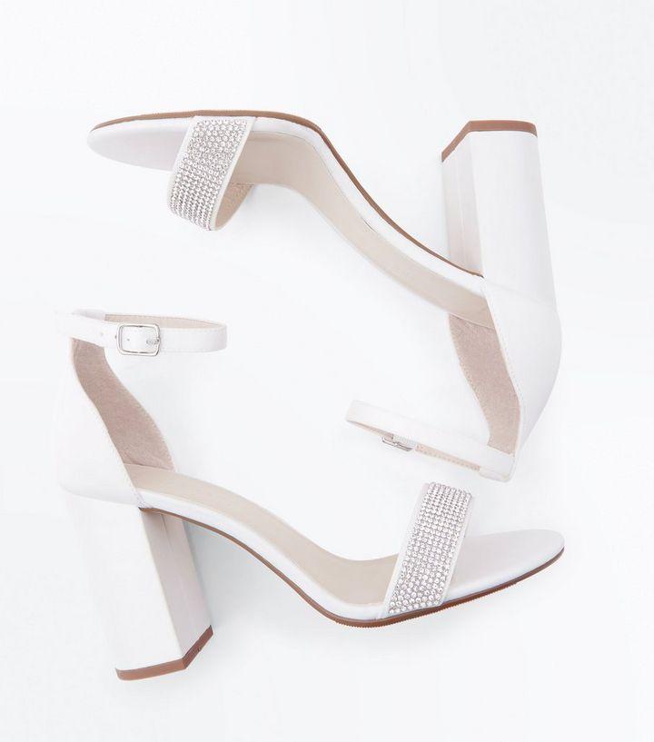 Wide Fit Off White Satin Diamanté Wedding Sandals The Look