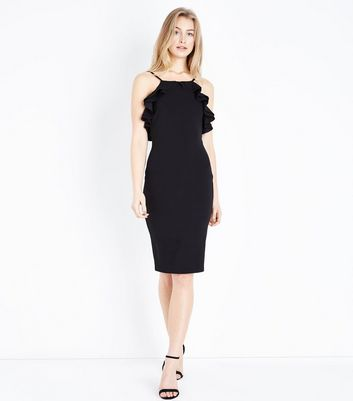 Black Frill Trim High Neck Bodycon Dress New Look