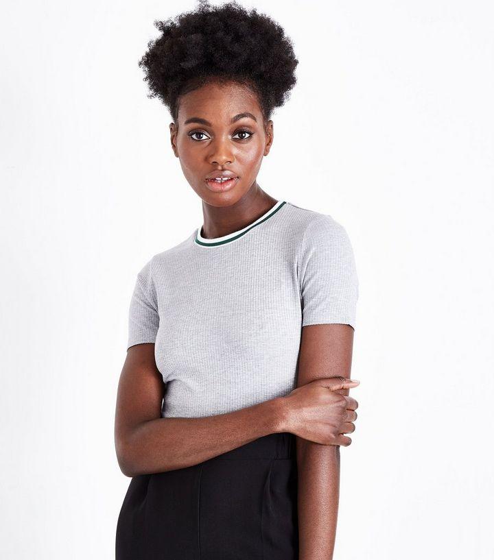 cac42c4a Grey Marl Ribbed Ringer T-Shirt | New Look