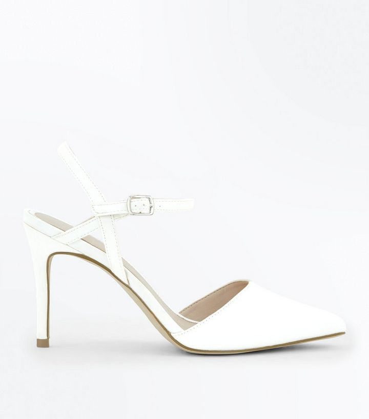 9a4bf3f55f18 Off White Satin Pointed Wedding Shoes