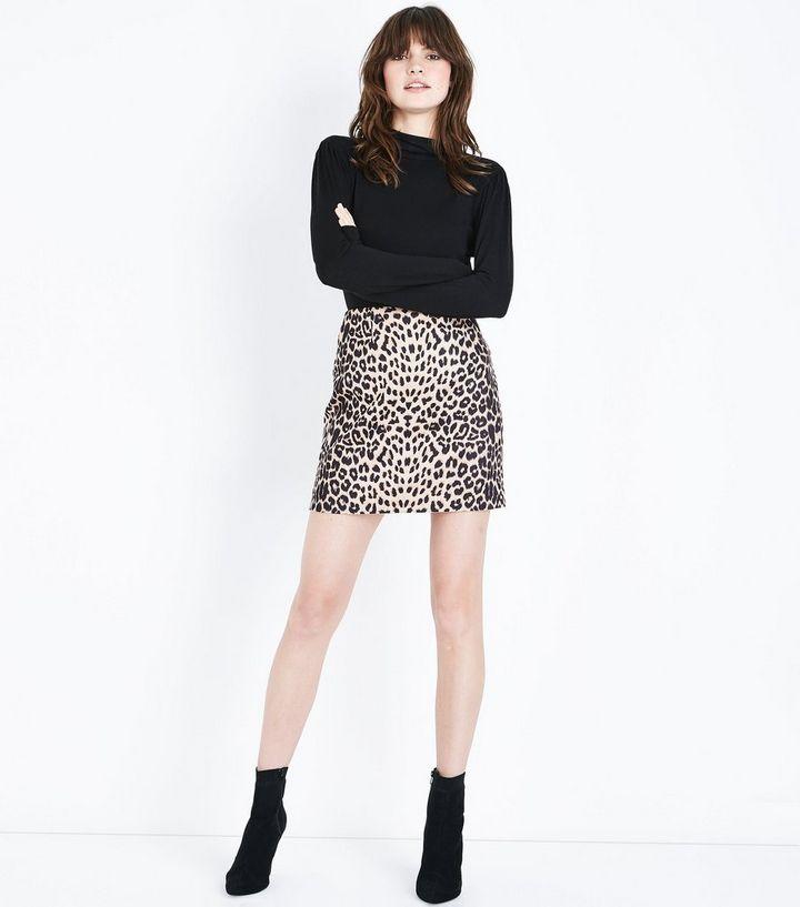 2f21cb7b63 Cameo Rose Brown Leopard Print Mini Skirt   New Look