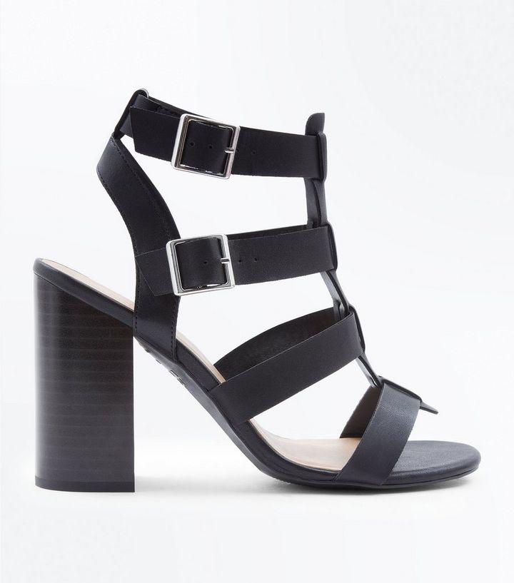 f56ab2e0f4d Black Wooden Block Heel Gladiator Sandals