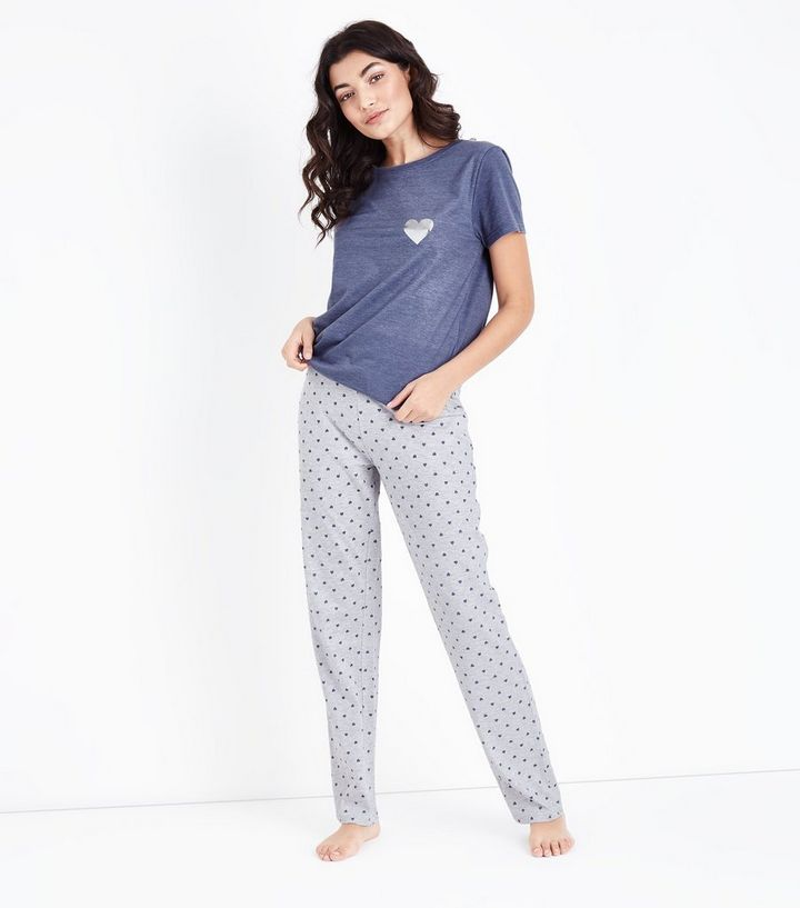 4747cfd5b450b Blue Heart Print Joggers and T-Shirt Pyjama Set | New Look