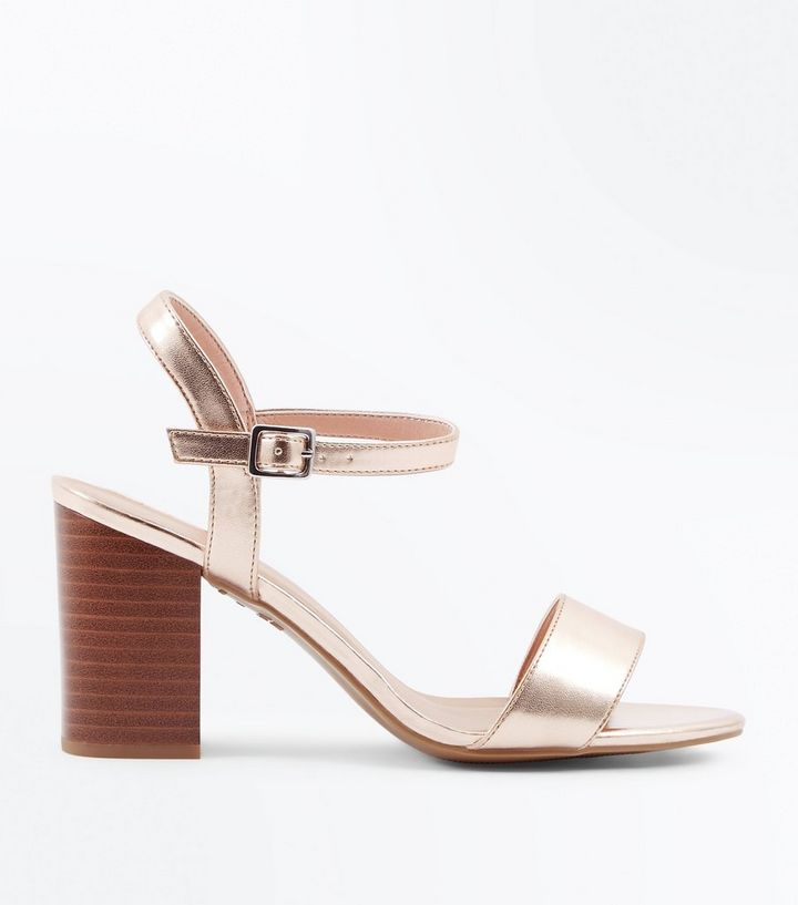 aa44b962aee Wide Fit Rose Gold Wooden Block Heel Sandals
