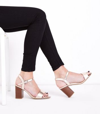 Wide Fit Rose Gold Wooden Block Heel Sandals New Look