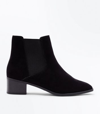 Wide Fit Black Suedette Square Toe Chelsea Boots Add to Saved Items Remove from Saved Items