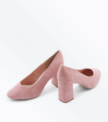 Wide Fit Pink Comfort Flex Suedette Court New Look