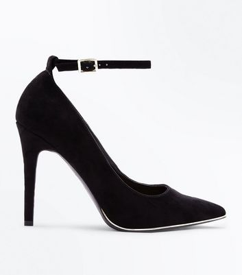 Wide Fit Black Suedette Metal Trim Pointed Courts New Look