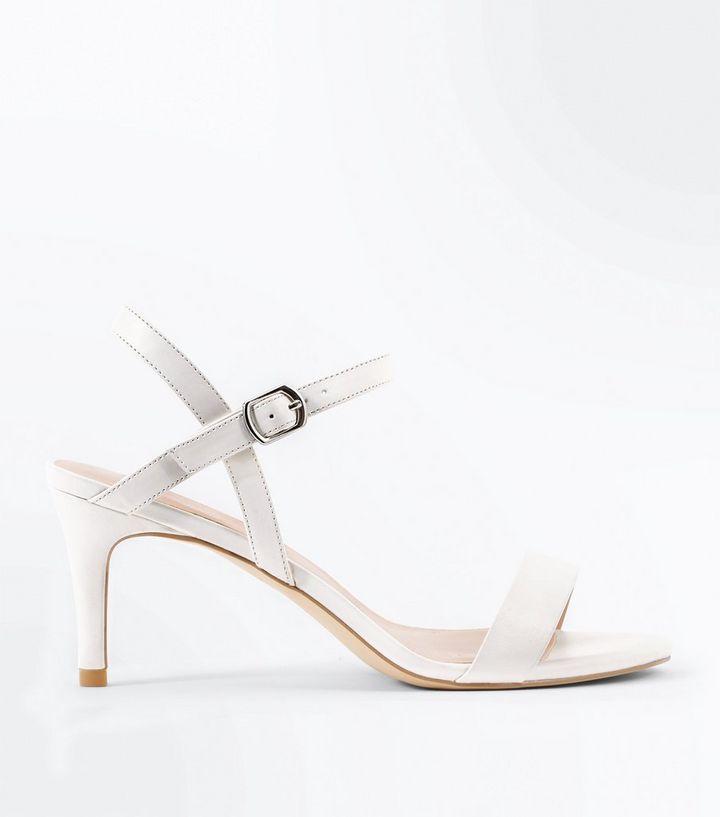 1428ece10d1e White Mid Heel Ankle Strap Sandals