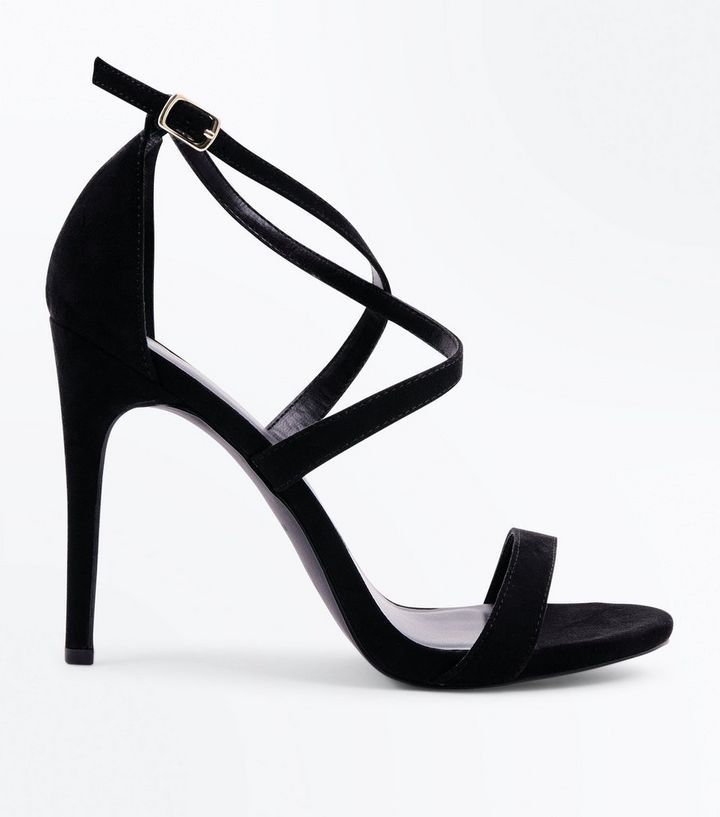 9d420a9610c Black Suedette Strappy Stiletto Heel Sandals Add to Saved Items Remove from  Saved Items