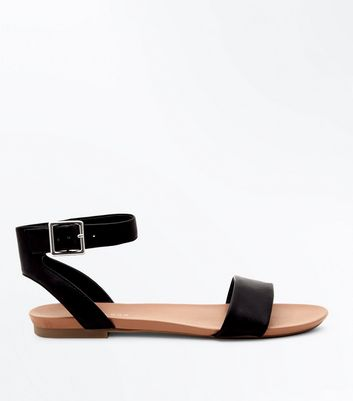 Black Ankle Strap Flat Sandals | New Look