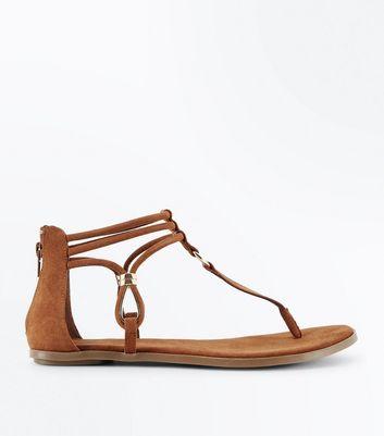 Sandales plates en suédine ocre à bride de cheville New Look
