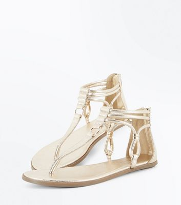 Gold Metallic Ankle Strap Flat Sandals New Look
