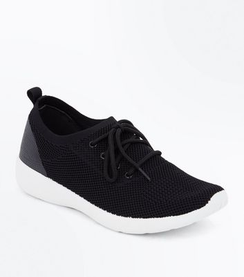 Black Knit Trainers | New Look