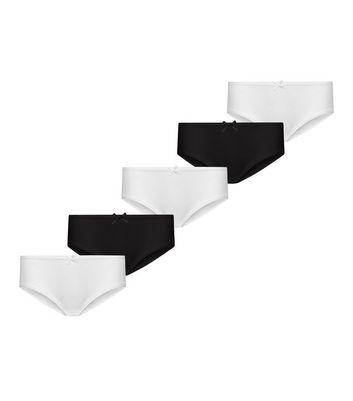 Girls 5 Pack Black and White Briefs