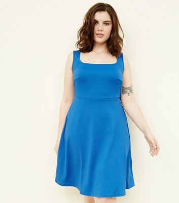 Curves Blue Square Neck Sleeveless Skater Dress