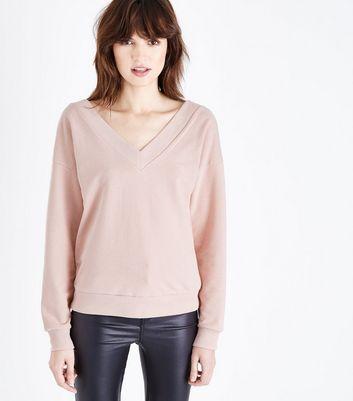 Pale Pink V Neck Sweatshirt New Look