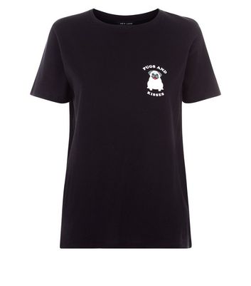 Black Pugs and Kisses Logo T-Shirt New Look