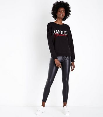 Black Amour Eternal Slogan Sweatshirt New Look