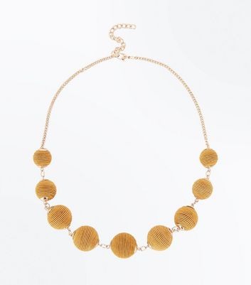 Mustard Textured Orb Necklace New Look