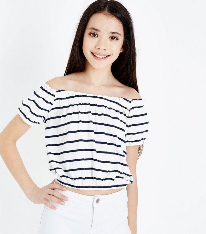 d3a9e28d0d19aa Girls White Stripe Bardot Neck Top