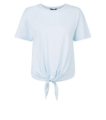 Pale Blue Tie Front T-Shirt New Look