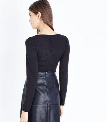 Black Ribbed Tie Front Bodysuit New Look