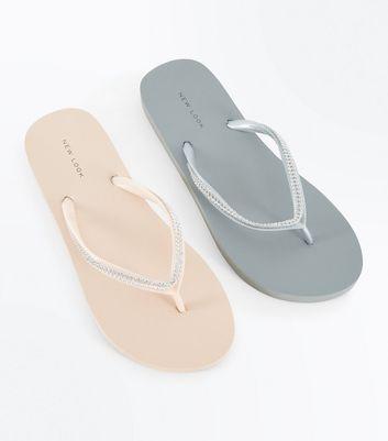 Pack Pink and Grey Diamante Flip Flops