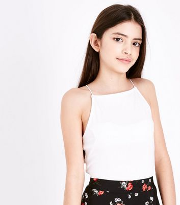 Girls White High Neck Cami