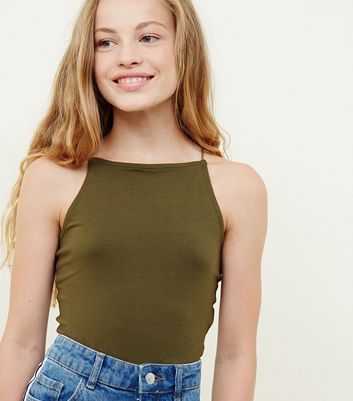Girls Khaki High Neck Cami