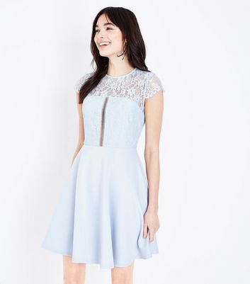 Pale Blue Ladder Lace Bodice Skater Dress New Look