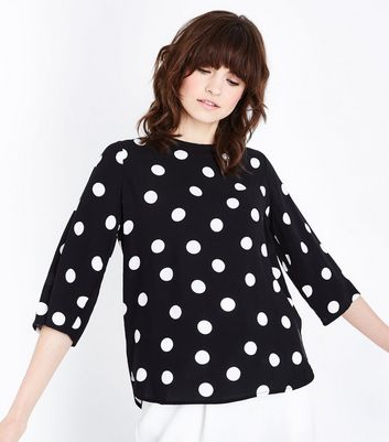 JDY Black Spot Print Bow Back Blouse New Look