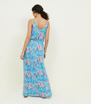 JDY Blue Floral Split Side Maxi Dress New Look