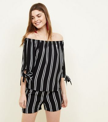 JDY Black Stripe Bardot Blouse