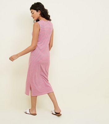 JDY Pink Stripe Midi Dress New Look