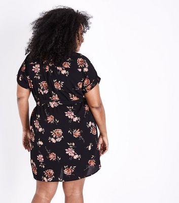 Curves Black Floral Print Belted Shirt Dress New Look