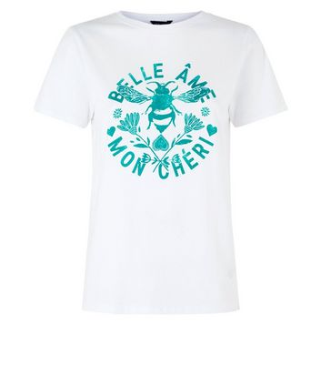 White Bee Print T-Shirt New Look